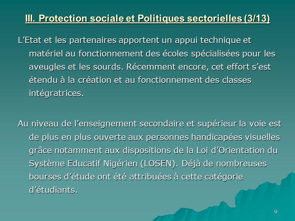 III. Protection sociale et Politiques sectorielles (3/13)