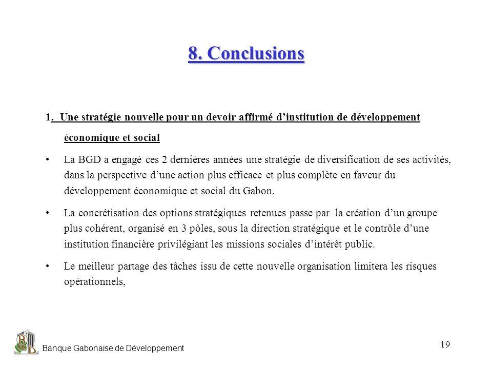 8. Conclusions 1. Une stratégie nouvelle pour un devoir affirmé d'institution de développement économique et social.
