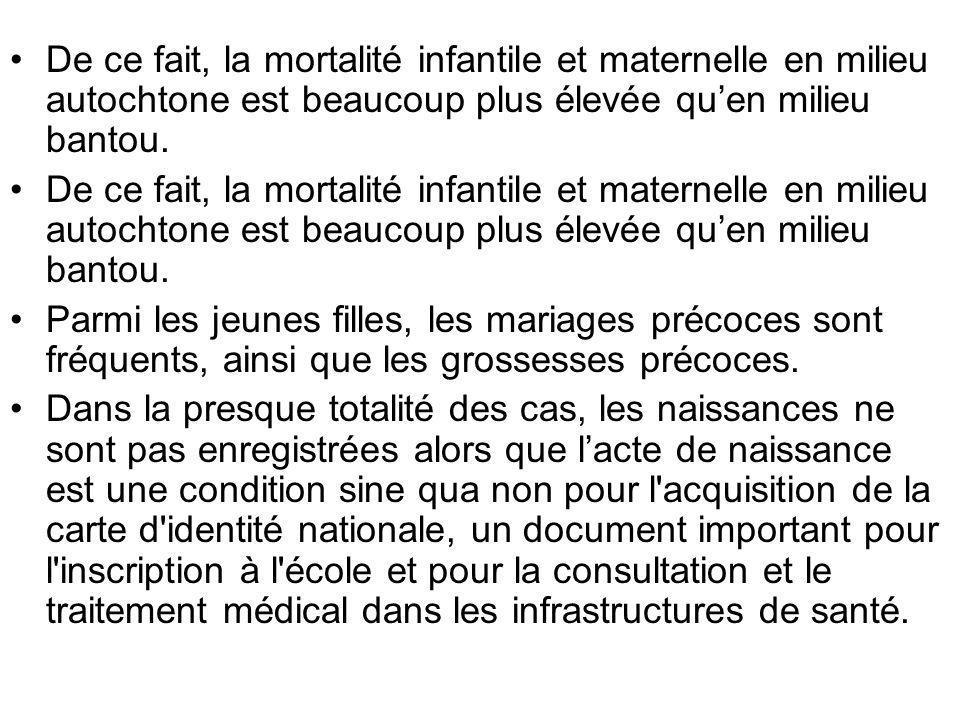 De ce fait, la mortalité infantile et maternelle en milieu autochtone est beaucoup plus élevée qu'en milieu bantou.