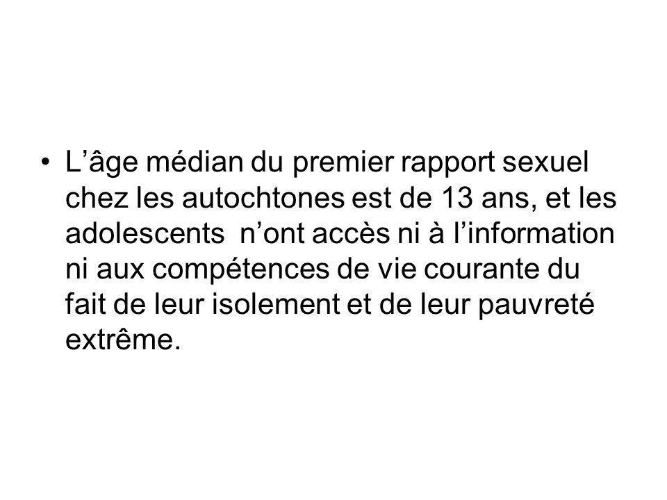 L'âge médian du premier rapport sexuel chez les autochtones est de 13 ans, et les adolescents n'ont accès ni à l'information ni aux compétences de vie courante du fait de leur isolement et de leur pauvreté extrême.
