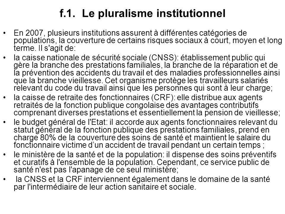 f.1. Le pluralisme institutionnel