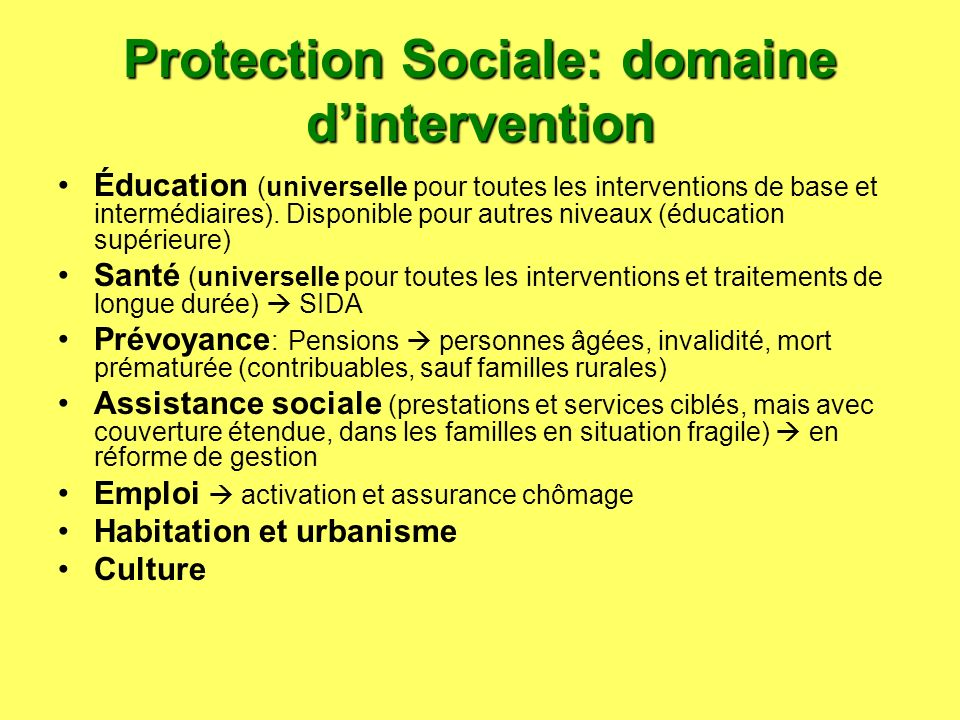 Protection Sociale: domaine d'intervention