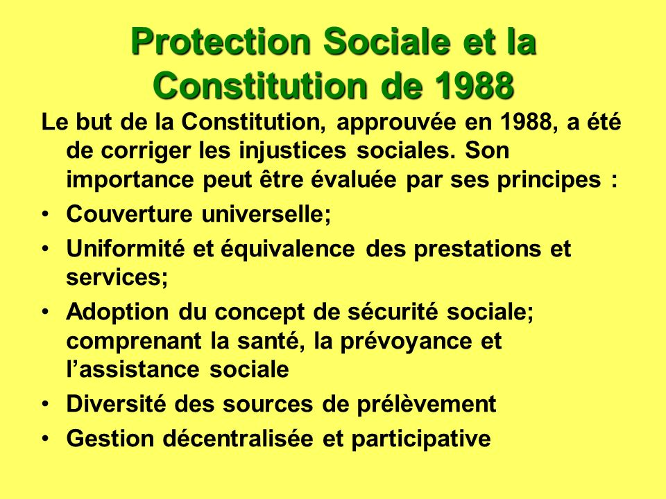 Protection Sociale et la Constitution de 1988