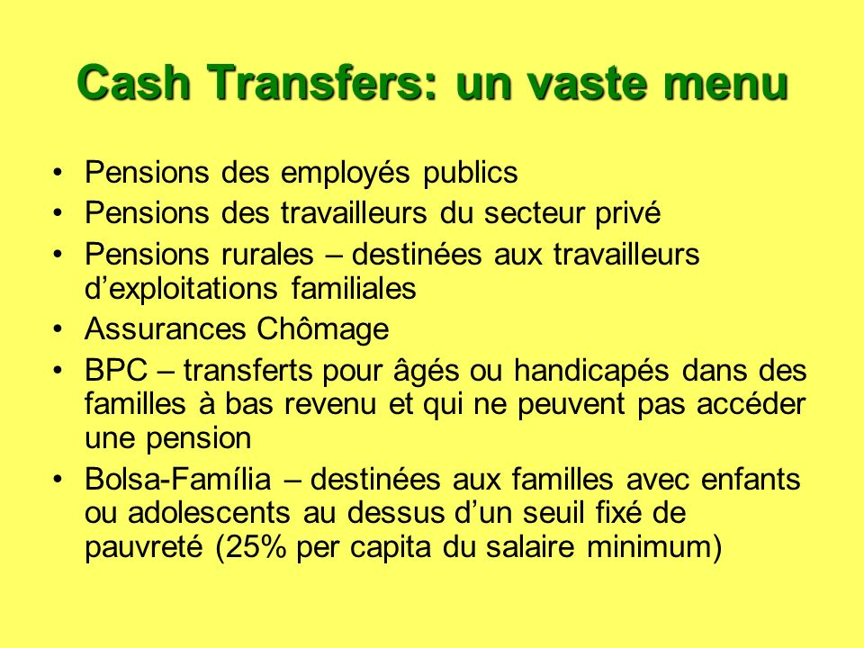 Cash Transfers: un vaste menu