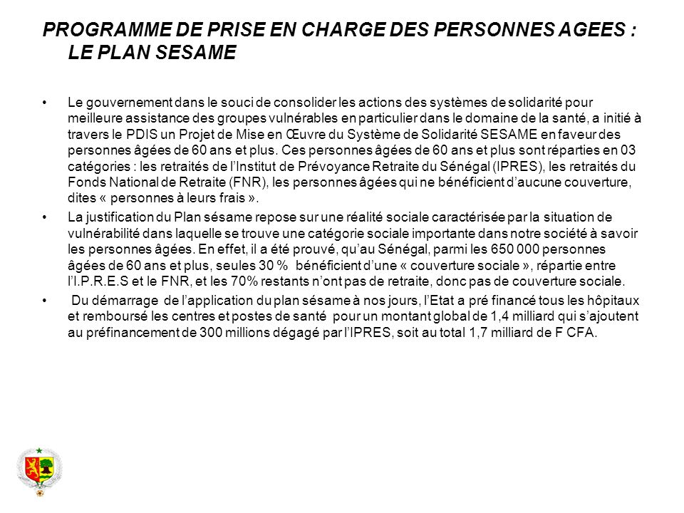 PROGRAMME DE PRISE EN CHARGE DES PERSONNES AGEES : LE PLAN SESAME