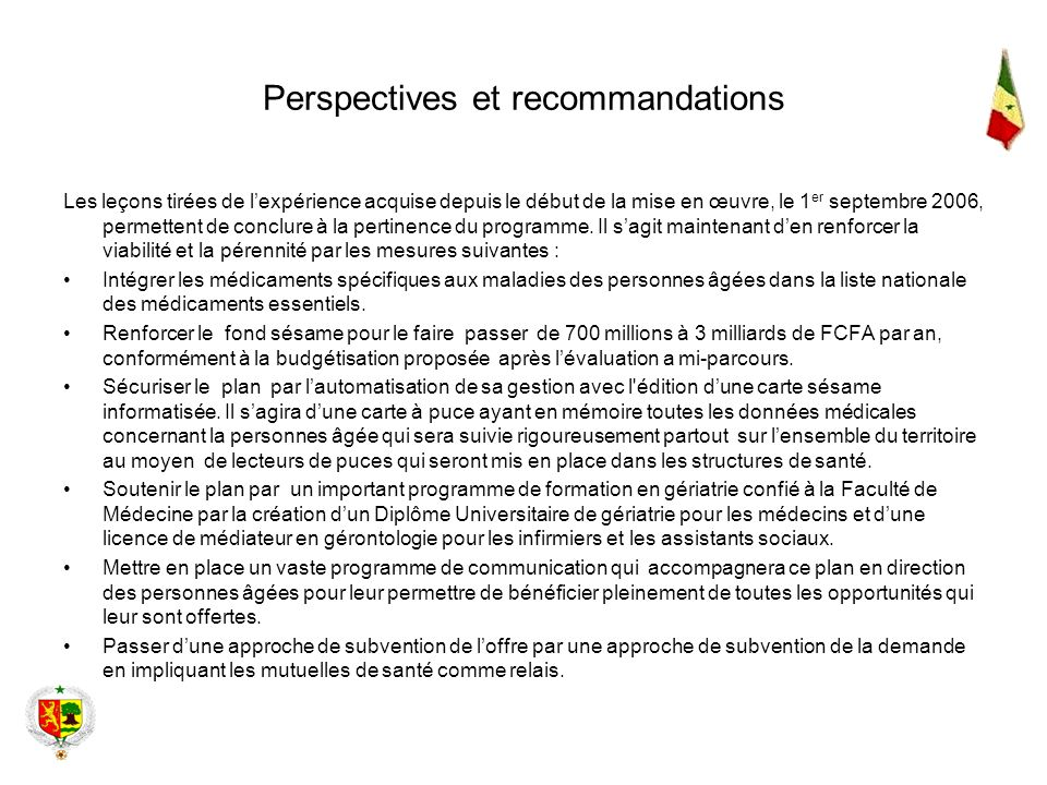 Perspectives et recommandations