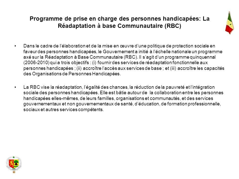 Programme de prise en charge des personnes handicapées: La Réadaptation à base Communautaire (RBC)