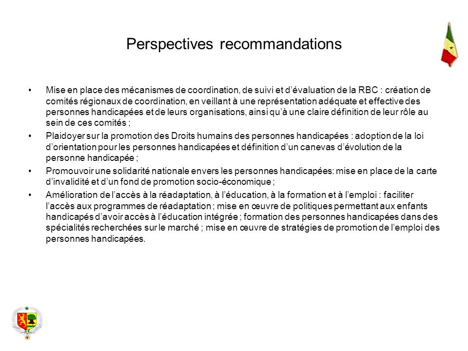 Perspectives recommandations