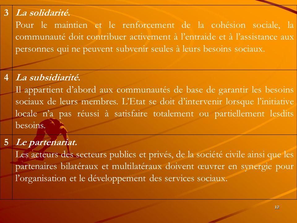 3 La solidarité.