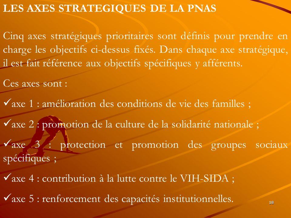 LES AXES STRATEGIQUES DE LA PNAS