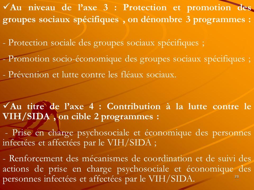 Au niveau de l'axe 3 : Protection et promotion des groupes sociaux spécifiques , on dénombre 3 programmes :