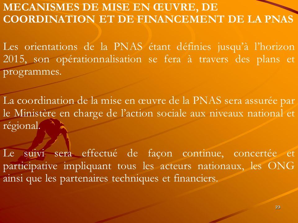 MECANISMES DE MISE EN ŒUVRE, DE COORDINATION ET DE FINANCEMENT DE LA PNAS