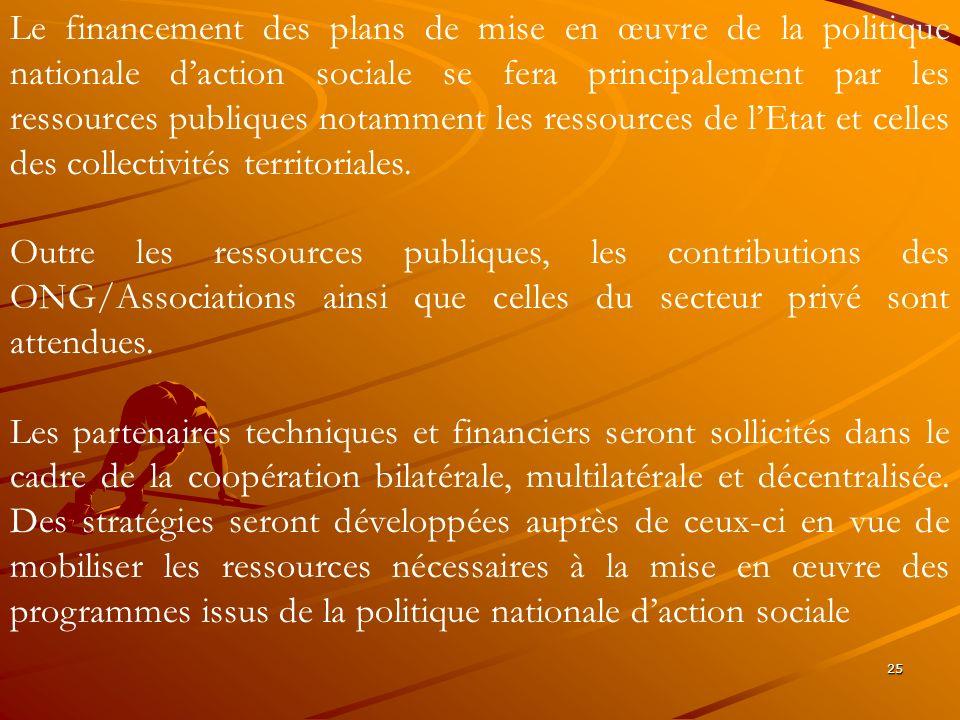 Le financement des plans de mise en œuvre de la politique nationale d'action sociale se fera principalement par les ressources publiques notamment les ressources de l'Etat et celles des collectivités territoriales.