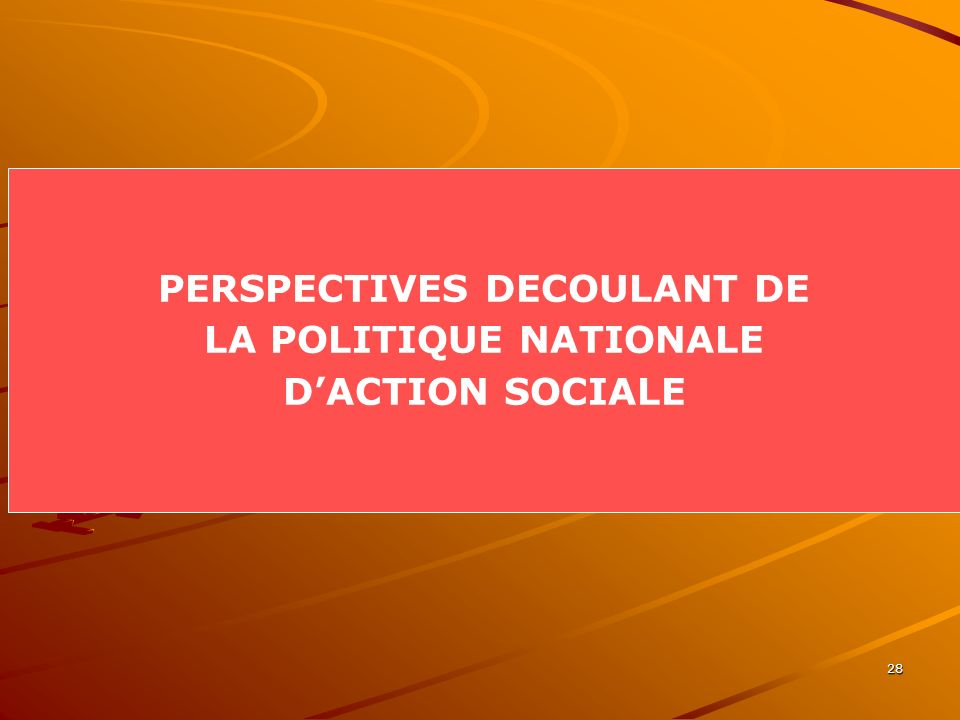 PERSPECTIVES DECOULANT DE LA POLITIQUE NATIONALE