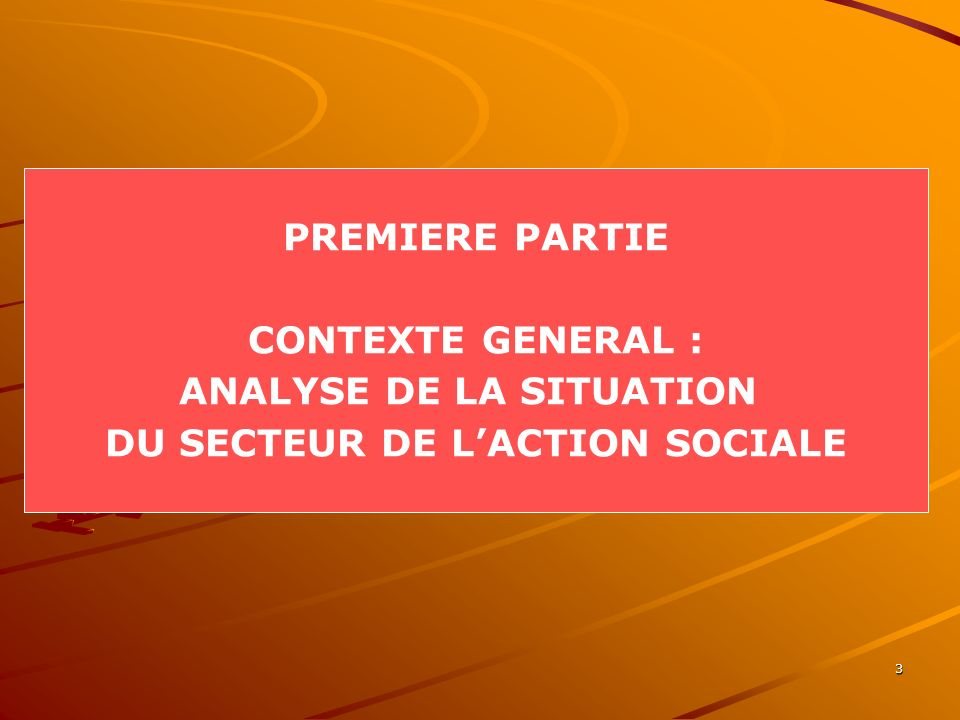 ANALYSE DE LA SITUATION DU SECTEUR DE L'ACTION SOCIALE