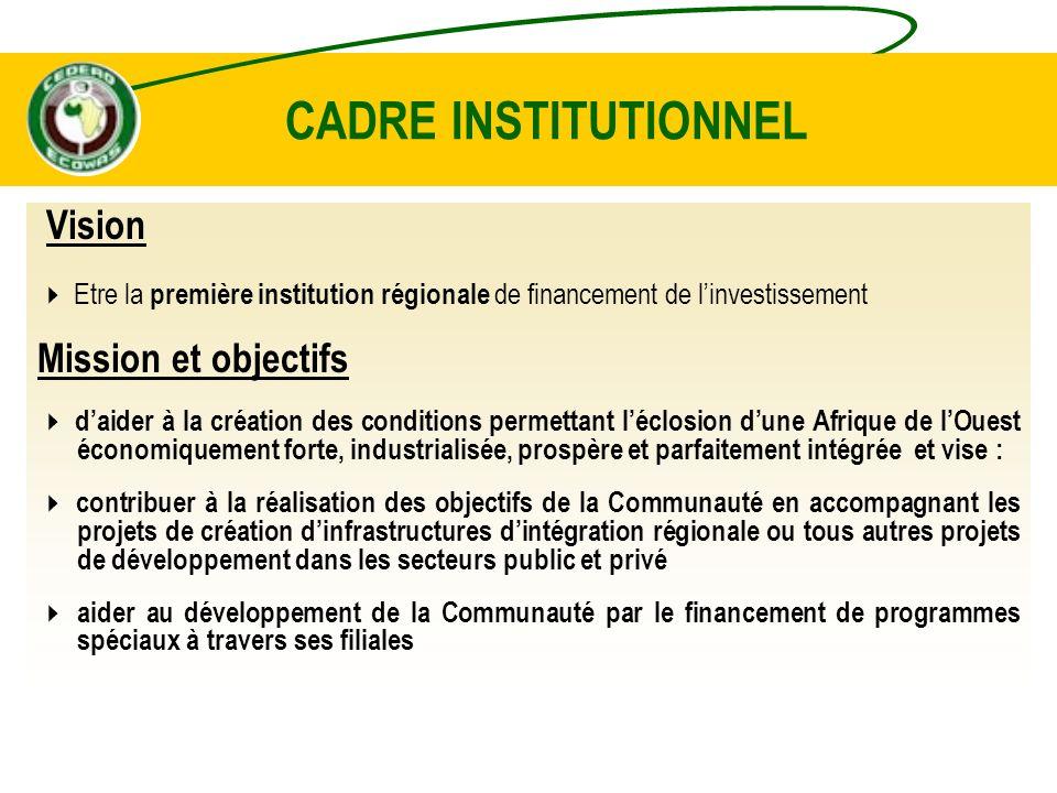 CADRE INSTITUTIONNEL Vision Mission et objectifs