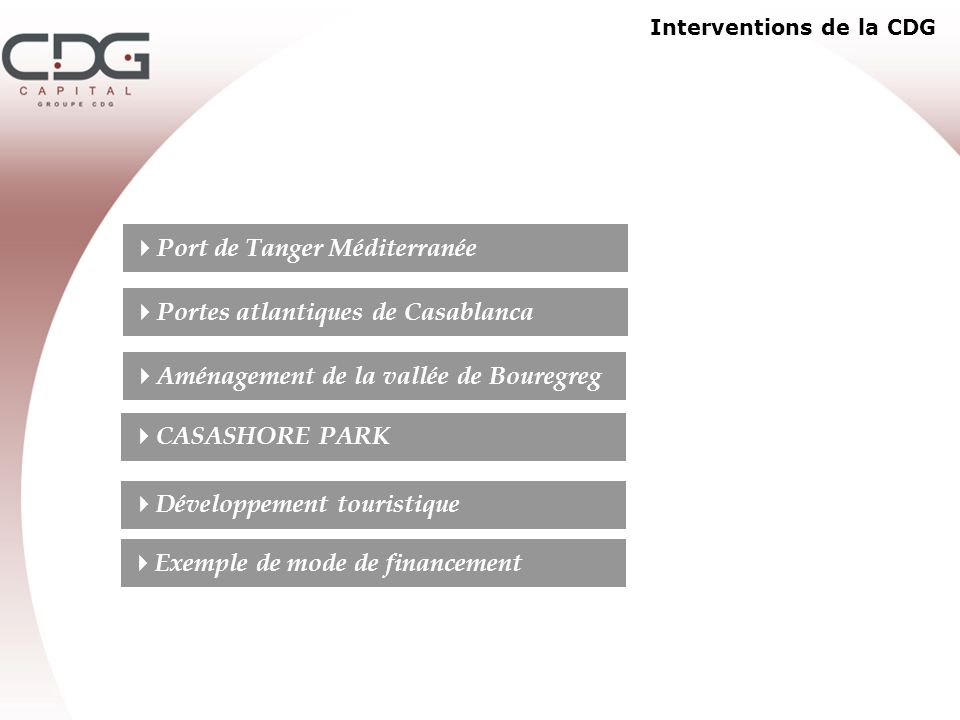 Interventions de la CDG