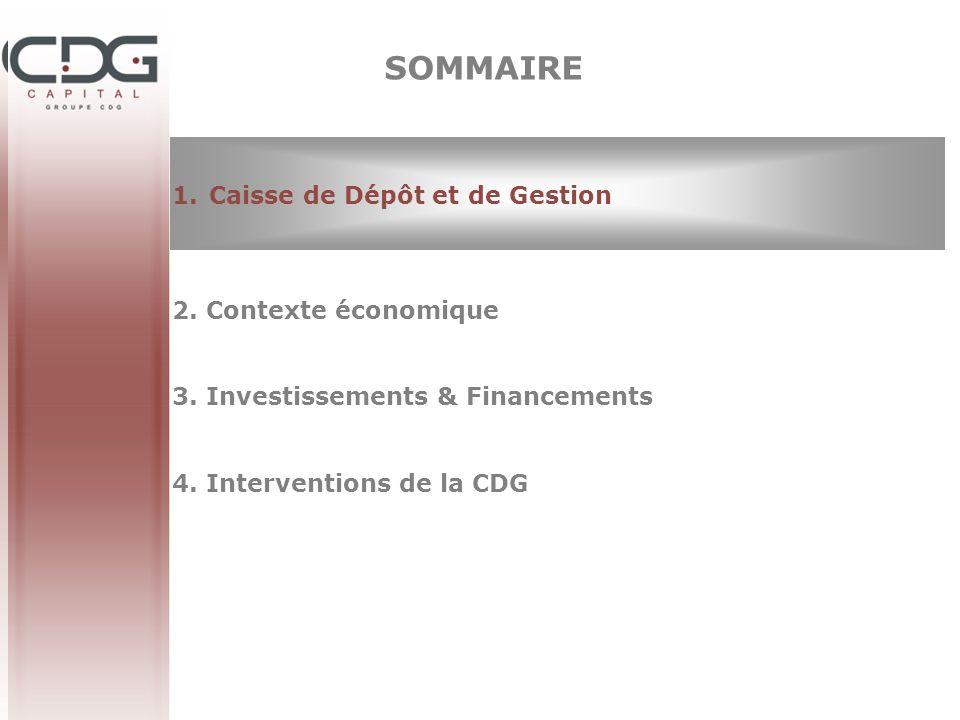 SOMMAIRE Caisse de Dépôt et de Gestion 2. Contexte économique