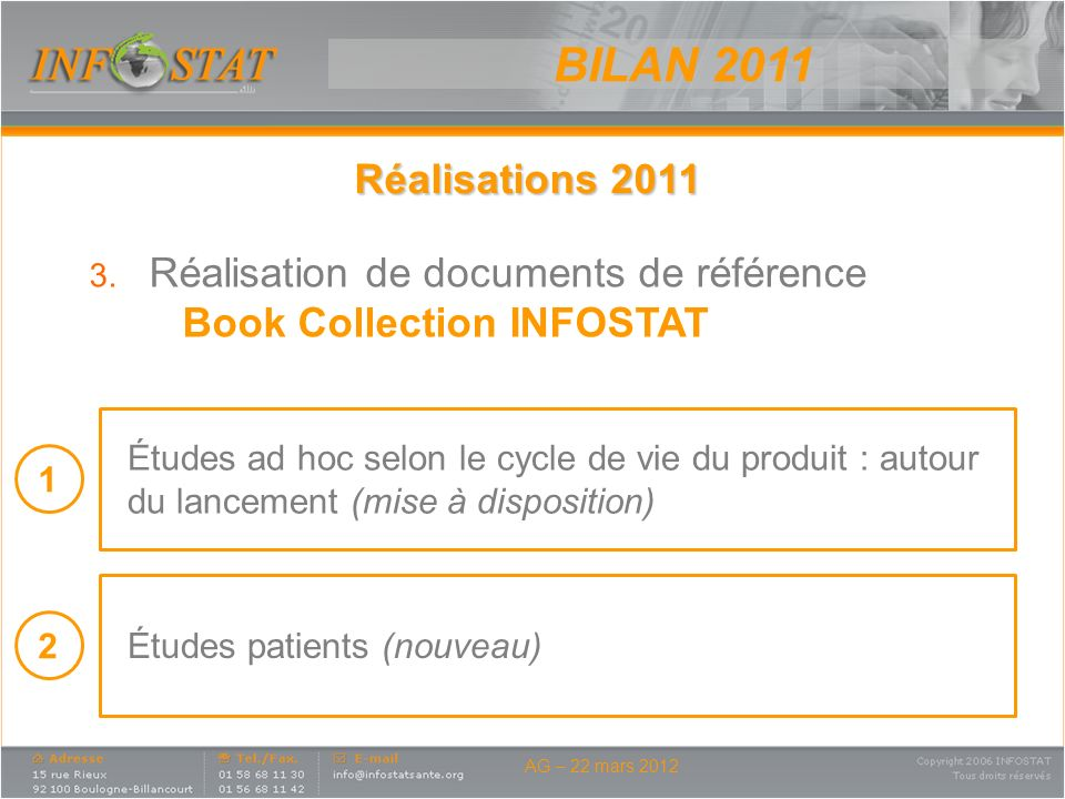 BILAN 2011 Réalisations 2011 Réalisation de documents de référence