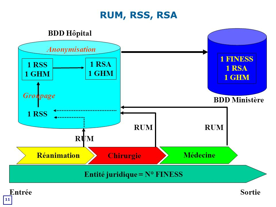 RUM, RSS, RSA BDD Hôpital Anonymisation 1 FINESS 1 RSA 1 GHM 1 RSS