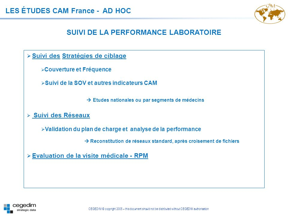 SUIVI DE LA PERFORMANCE LABORATOIRE
