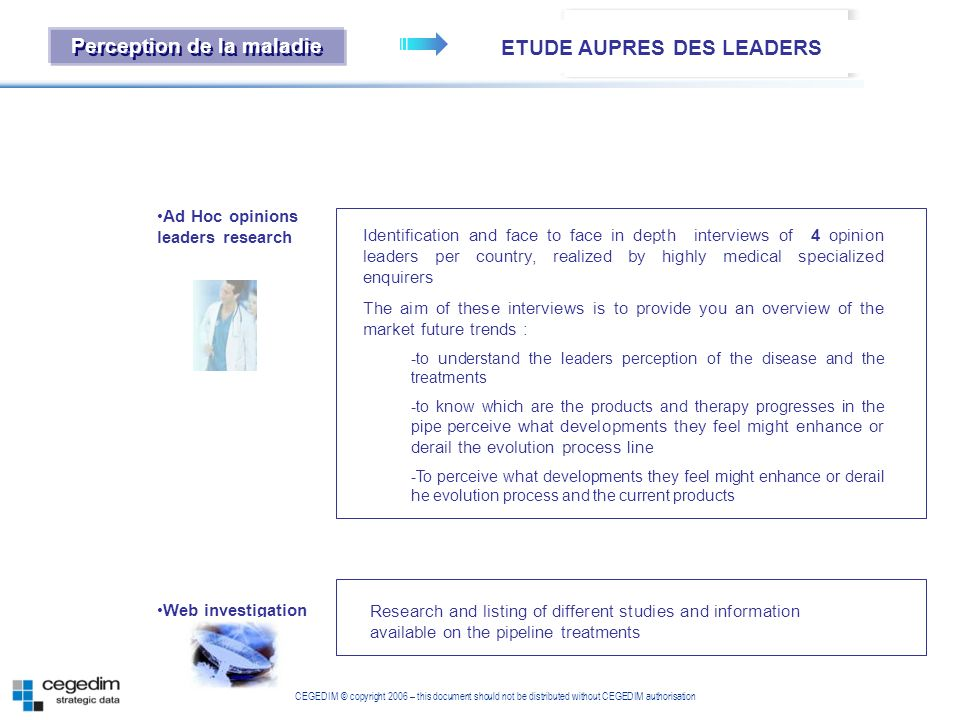 ETUDE AUPRES DES LEADERS Perception de la maladie