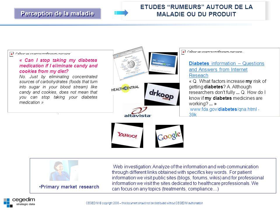 ETUDES RUMEURS AUTOUR DE LA MALADIE OU DU PRODUIT