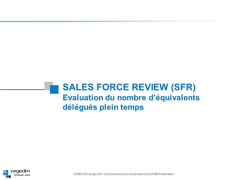 SALES FORCE REVIEW (SFR)