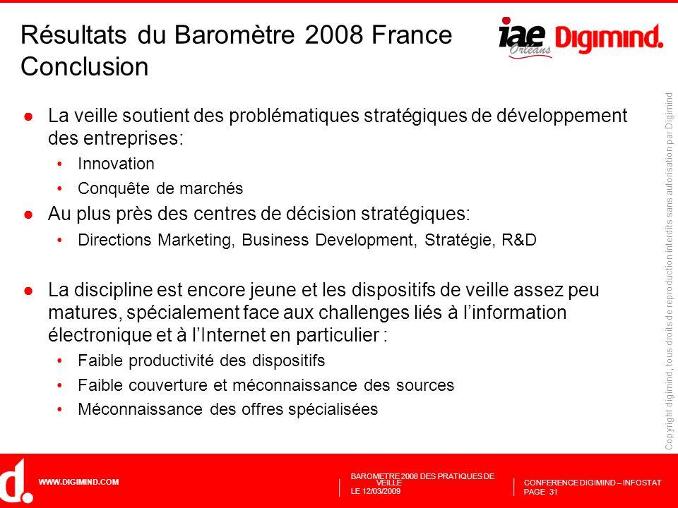 Résultats du Baromètre 2008 France Conclusion