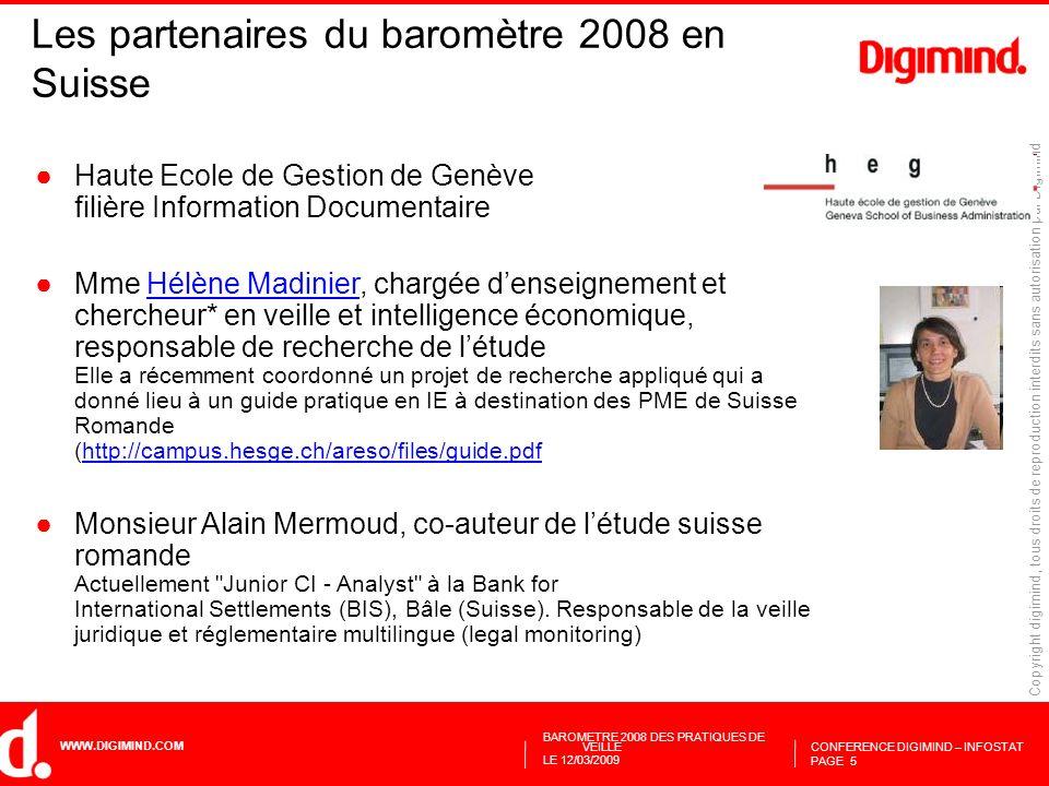 Les partenaires du baromètre 2008 en Suisse