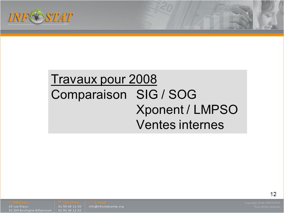 Travaux pour 2008 Comparaison. SIG / SOG. Xponent / LMPSO