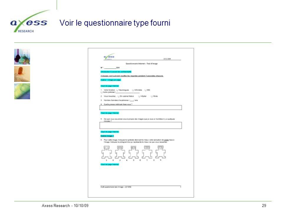 Voir le questionnaire type fourni