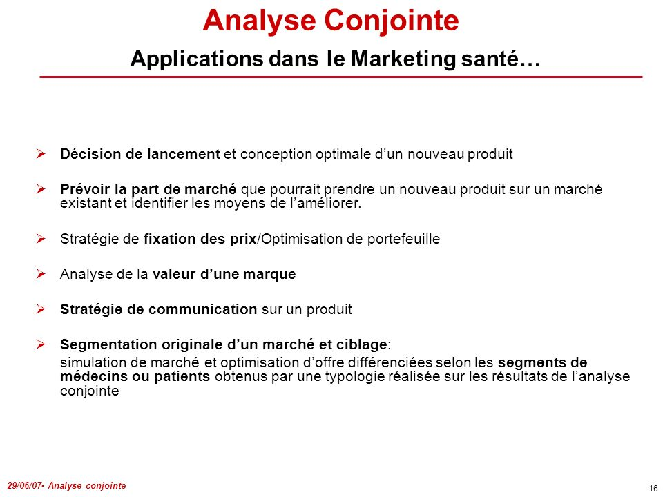 Analyse Conjointe Applications dans le Marketing santé…