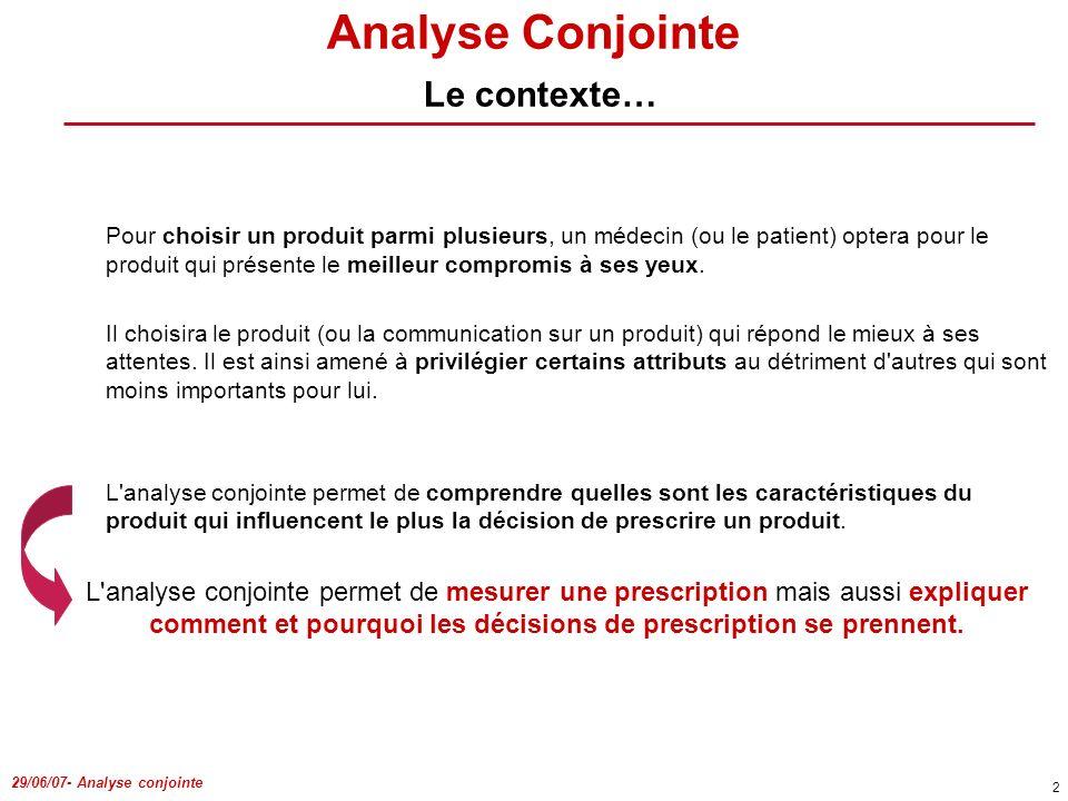 Analyse Conjointe Le contexte…