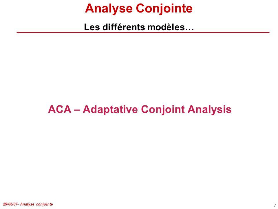 Les différents modèles… ACA – Adaptative Conjoint Analysis