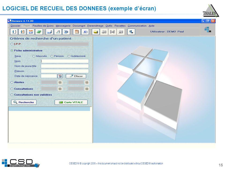 LOGICIEL DE RECUEIL DES DONNEES (exemple d'écran)