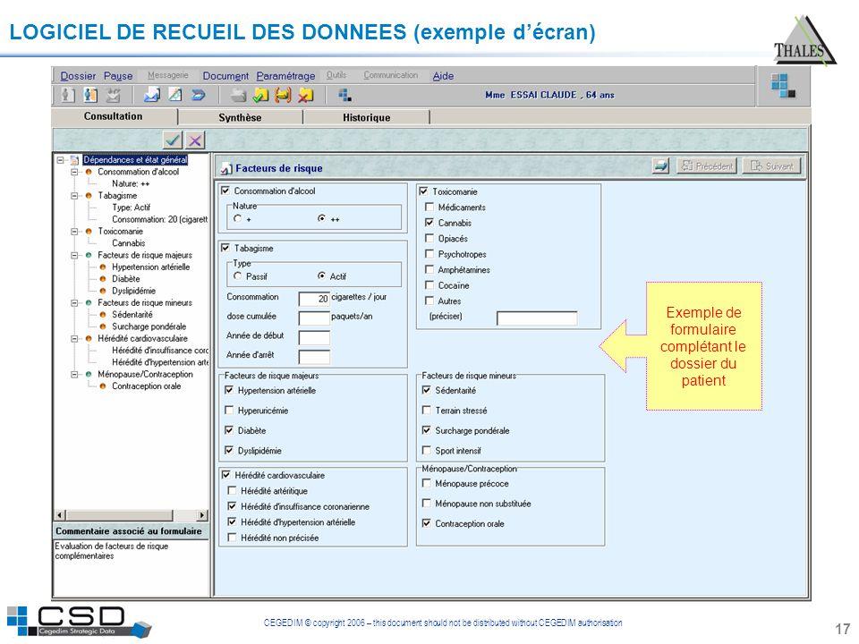 Exemple de formulaire complétant le dossier du patient