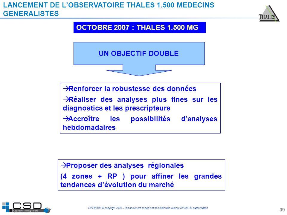 LANCEMENT DE L'OBSERVATOIRE THALES 1.500 MEDECINS GENERALISTES