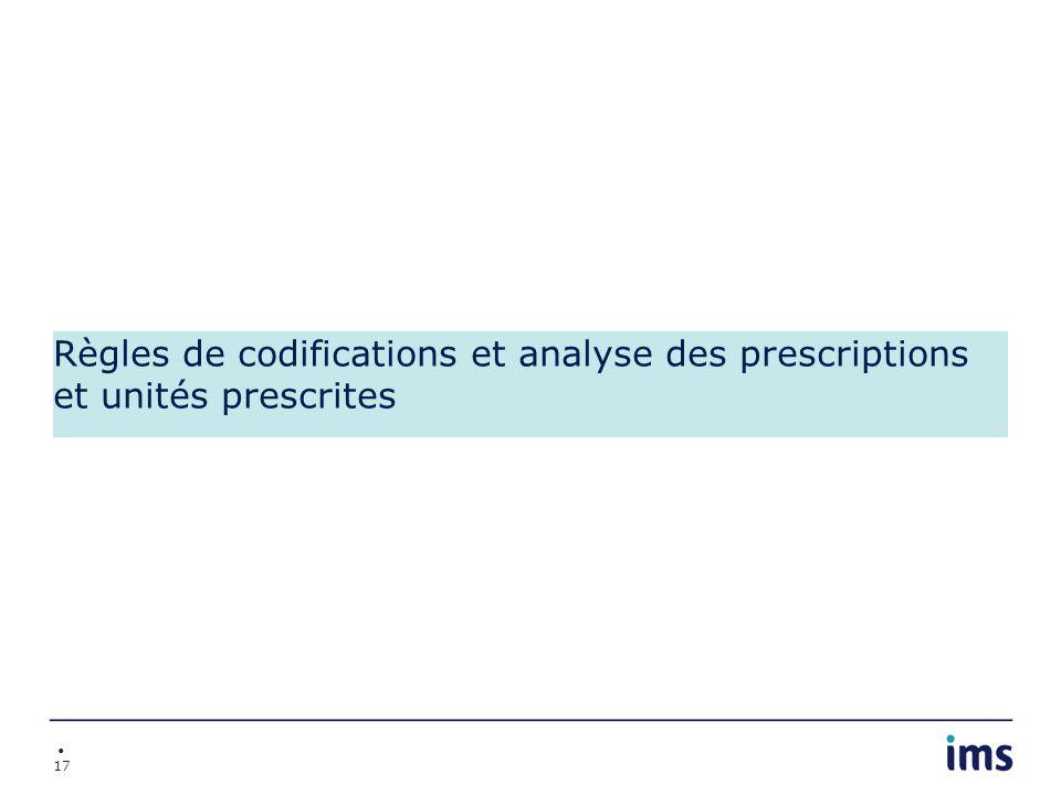 Règles de codifications et analyse des prescriptions et unités prescrites