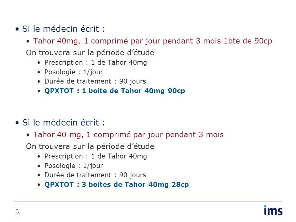 Si le médecin écrit :Tahor 40mg, 1 comprimé par jour pendant 3 mois 1bte de 90cp. On trouvera sur la période d'étude.