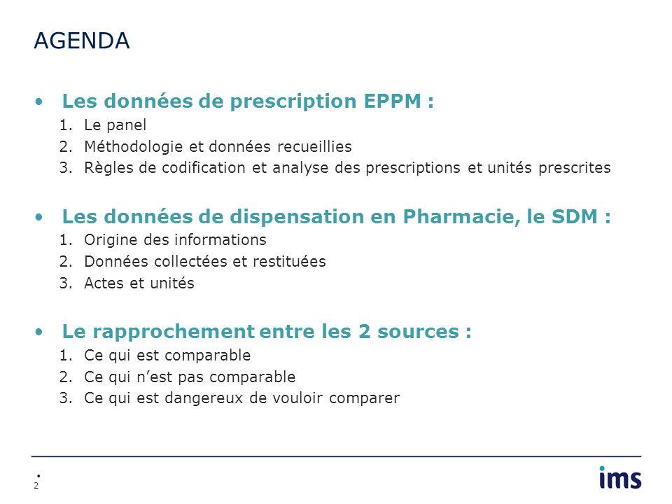 AGENDA Les données de prescription EPPM :