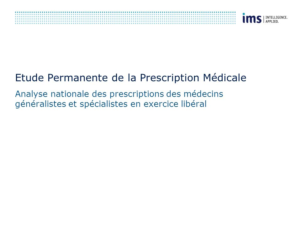 Etude Permanente de la Prescription Médicale