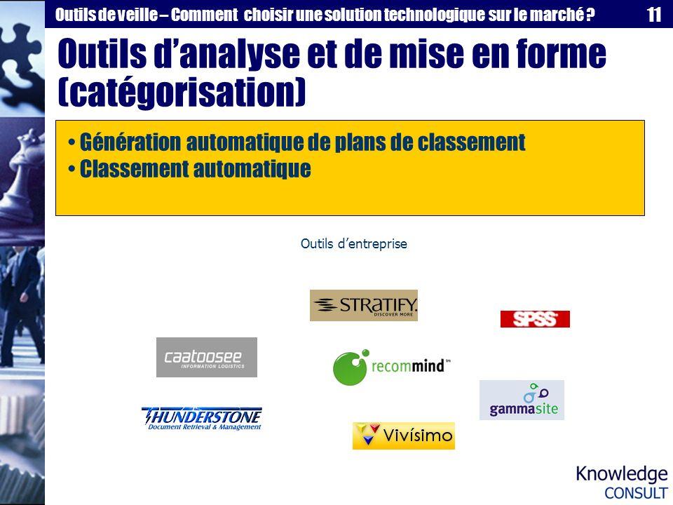 Outils d'analyse et de mise en forme (catégorisation)