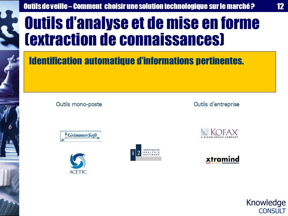 Outils d'analyse et de mise en forme (extraction de connaissances)