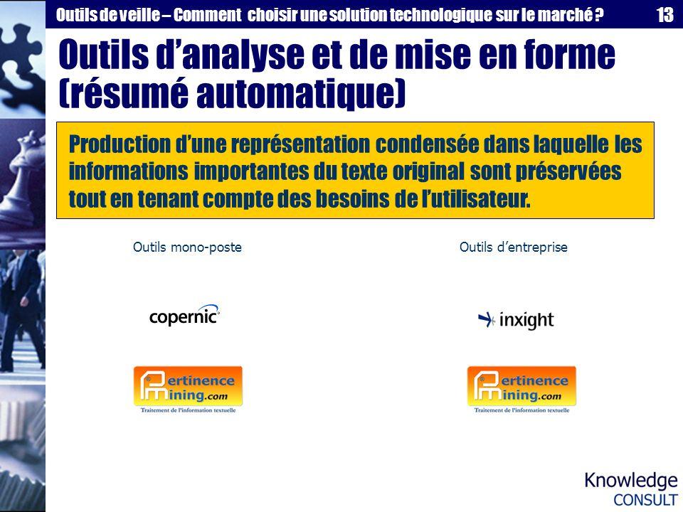 Outils d'analyse et de mise en forme (résumé automatique)