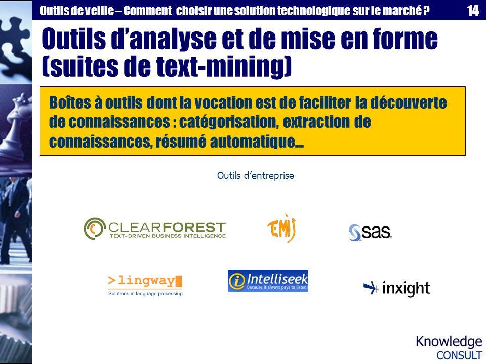 Outils d'analyse et de mise en forme (suites de text-mining)