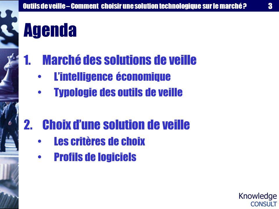 Agenda Marché des solutions de veille Choix d'une solution de veille