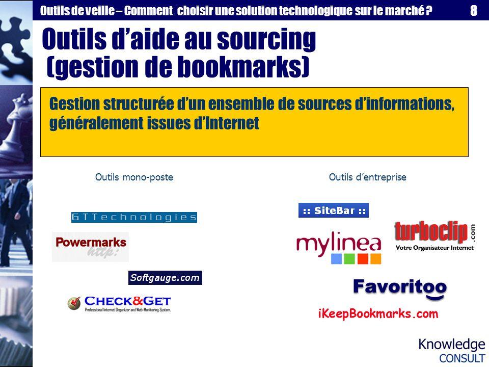 Outils d'aide au sourcing (gestion de bookmarks)