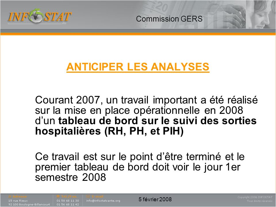 ANTICIPER LES ANALYSES