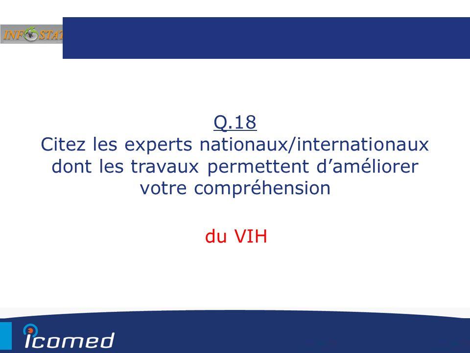 Q.18 Citez les experts nationaux/internationaux